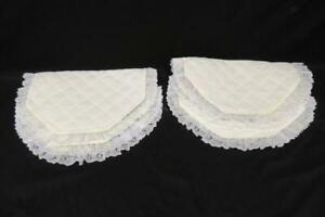 Set of 4 Vintage Oval Quilted Placemats Table Linen Decor Lace Floral Yellow
