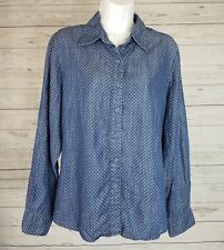 Foxcroft Womens Shirt Sz 8 Shaped Fit Chambray Blue Polka Dot Long Sleeve Tencel