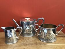 Victorian Silver Plated Aesthetic Movement Three Piece Tea Set By Walker & Hall