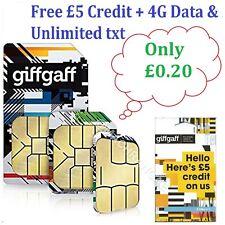 Giff Gaff £5 Free Credit + 4G Data & Unlimited txt Giffgaff Pay As You Go SIM