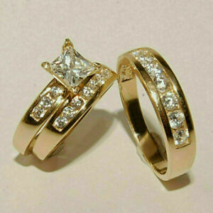 2ct Princess Cut Diamond HIs & Her Engagement Trio Ring Set 14k Yellow Gold Over