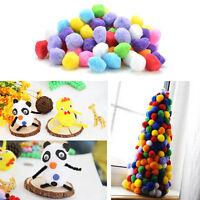 100X Round Fluffy Wool Pompoms Pom Poms 10mm for Childrens Crafts 20/30/40mm