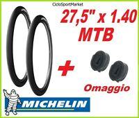 2 x Copertoni 27,5 x 1.40 SLICK MICHELIN bici Mountain Bike + 2 x CAMERA D'ARIA