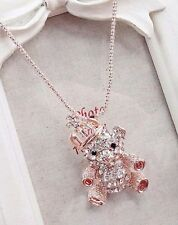 ELEMENTS CLEAR CRYSTAL GOLD CROWN BEAR PENDANT & LONG golden NECKLACE