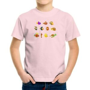 Toddler Kids Boy Girl Tee T-Shirt Gift Printed Shirt Cartoon Fish Ocean Turtle