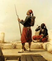 Oil painting Niels Simonsen - a nubian and egyptian guard in a lookout tower art
