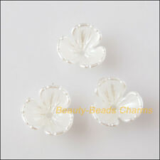 50 New Charms Acrylic Plastic Flower Star Spacer End Beads Caps White 10.5mm