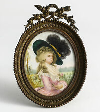 French Hand painted Miniature Portrait Lady in Hat Gilt Bronze Oval Frame Signed