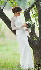 High Neck Lace Long Sleeve Wedding Dress Bridal Gown 2 4 6 8 10 12 14 16 18++