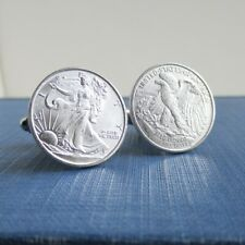 999 Sterling Silver Cuff Links - Walking Liberty Coin, Repurposed 1/10 oz. Coins