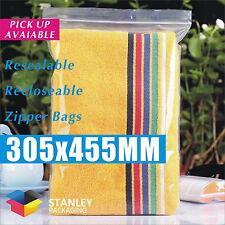 100x Zip Lock 305x455mm Resealable Ziplock Plastic Bag Recloseable Zipper 50UM