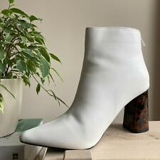 White Ankle Boots with Tortoiseshell Heel Zip Up Good Condition