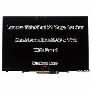 "14"" Lenovo ThinkPad X1 Yoga 1st Gen 20FQ WQHD LCD Display Touch Screen Assembly"