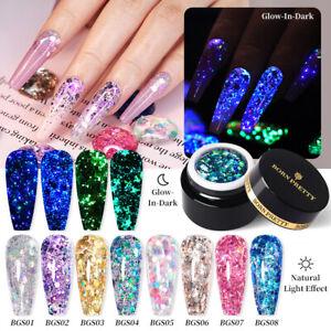 BORN PRETTY Luminous Glitter Sequins Gel Nail 5g Glow In Dark UV Gel Polish