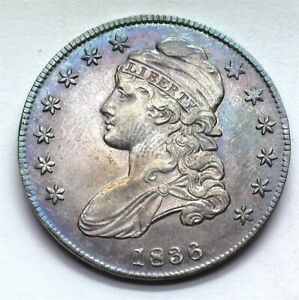 1836 CAPPED BUST SILVER 50 CENTS CHOICE UNCIRCULATED NICE COLOR!! RARE THIS NICE