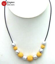 """10-11mm Gray Rice Natural FW Pearl Necklace for Women & Yellow Lava 18"""" Leather"""