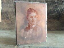 Vintage Copper Newspaper Ink Plate Type On Wood Block ,  Stunning Woman Portrait