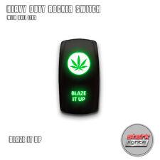 GREEN Laser LED Rocker Switch 5 Pin Dual Light 20A 12V ON / OFF - BLAZE IT UP
