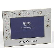 Petal Jewel Silver Tone Picture Frame for Ruby 40th Wedding Anniversary
