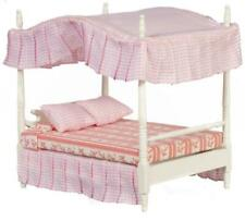 Melody Jane Dollhouse White Double 4 Poster Canopy Bed Miniature 1:12 Bedroom