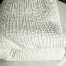 Pottery Barn White Honeycomb King Duvet Cover Cotton Waffle Weave 108x92