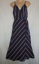 LUNIK S Red White Blue Striped Wrap Sun Dress Retro 70s Disco Patriotic Womens