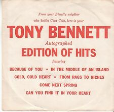 Tony Bennett POP EP&PS (Columbia 26851) Because of You/In the Middle of an  M-