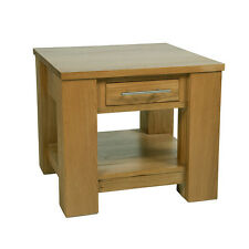 Solid Oak Lamp Table | Small Solid Oak Coffee End Table with Drawer | Furniture