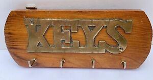 Brass Key Wood Hanging Hooks Wall Home Decor Vtg 70s 80s