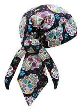 That's A Wrap Women's Biker Sugar Skulls Black/Pastel Bandana Head Wrap. HW2951