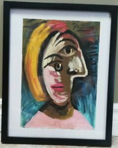 Picasso Original Watercolor  -Signed  -Framed -Gallery Stamps -Not A Copy
