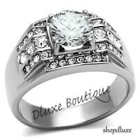 Men's 3.35 Ct Round Cut Simulated Diamond Silver Stainless Steel Ring Size 8-14