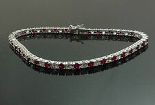 Ladies Genuine Sterling Silver Red White Simulated Diamond Bracelet Gift