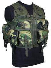 9 tasche Woodland Camo Tactical Assault Gilet Rig Esercito Militare Utility Pouch