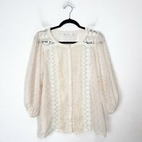 T-Bags Cream Swiss Dot Lace Sheer Blouse Top Womens Size M Medium