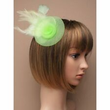 Pastel Lime  green Rose Flower Feather Hair clip brooch Fascinator, Party Prom