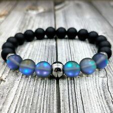 """8""""L STAINLESS STEEL 10mm Matte Blue Aura Quartz+Onyx Gemstone Beaded Bracelet"""