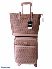 DKNY Pink Cabin Sized Suitcase With Matching Handbag Set Travel In Style NEW