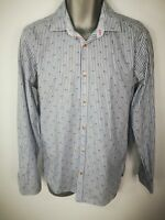 MENS TED BAKER BLUE FLORAL STRIPED BUTTON UP LONG SLEEVED SHIRT SIZE 3 MEDIUM M