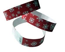 100 Tyvek-Eintrittsbänder, rot, bedruckt mit Schneeflocken weiss