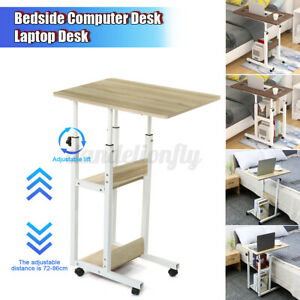 Adjustable Angle & Height Rolling Laptop Desk Over Bed Hospital Table Stand Tray