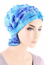 Abbey Cap ® Chemo Hat Cancer Beanie Scarf Ruffle Embroidered Blue Tie Dye
