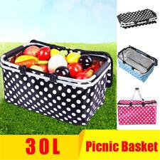 Outdoor Insulated Folding Picnic Basket Fruit Portable Storage Basket Handles