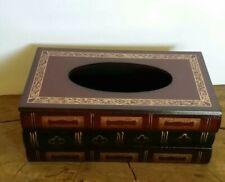 Antique Book Wood Bathroom Facial Tissue Dispenser Box Cover / Napkin Holder