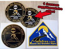 1 écusson et 2 autocollants route des Grandes Alpes motofree + 1 écusson offert
