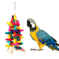 Colorful Wood Parrot Toys Durable Macaw Cage Chew Swing Bird Conure Pet Toy6DS