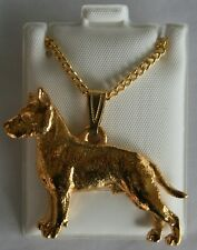 American Staffordshire Dog 24K Gold Plated Pewter Pendant Chain Necklace Set