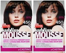 2 X LOREAL SUBLIME MOUSSE PERMANENT HAIR COLOUR 450 DEEP MAHOGANY BROWN NEW