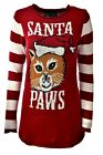 Women's SANTA PAWS Cat Kitten Holiday Party Ugly Christmas Xmas Sweater S A904