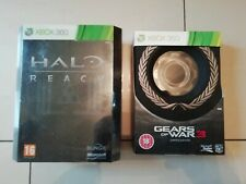 Xbox 360 x2 collectionneurs Jeux Gears of War 3 Halo REACH Limited Edition Libre p&p